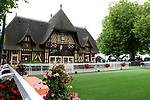 August 15, 2021, Deauville (France) -  The weighing room  in Anglo-Norman style and the Unsadelling Enclosure on the  Deauville Racecourse. [Copyright (c) Sandra Scherning/Eclipse Sportswire)]
