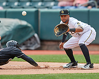 Sherman Johnson (3) of the Salt Lake Bees on defense against the El Paso Chihuahuas in Pacific Coast League action at Smith's Ballpark on April 30, 2017 in Salt Lake City, Utah. El Paso defeated Salt Lake 3-0. This was Game 1 of a double-header.  (Stephen Smith/Four Seam Images)