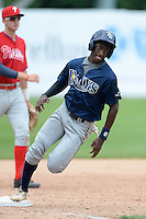 Lucius Fox Jr (1) of American Heritage Boca Delray High School in Lake Worth, Florida playing for the Tampa Bay Rays scout team during the East Coast Pro Showcase on July 30, 2014 at NBT Bank Stadium in Syracuse, New York.  (Mike Janes/Four Seam Images)