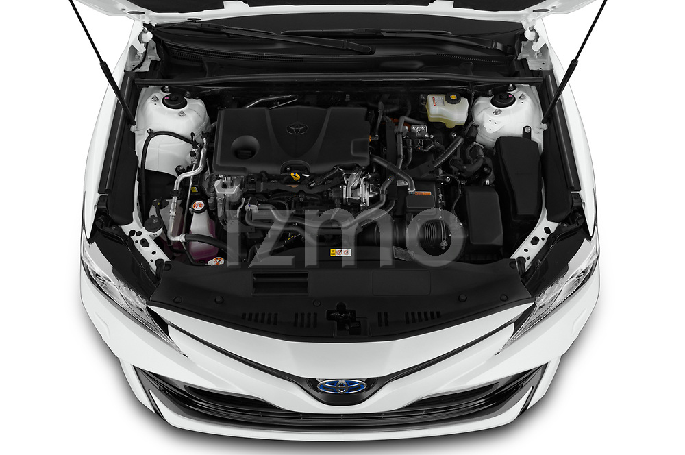Car Stock 2019 Toyota Camry Premium 4 Door Sedan Engine  high angle detail view