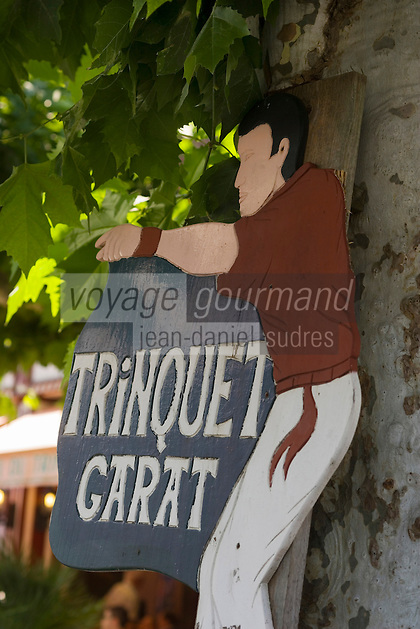 Europe/France/Aquitaine/64/Pyrénées-Atlantiques/Saint-Jean-Pied-de-Port: Enseigne  du Trinquet Garat ou ont lieu les spectacles de pelote basque