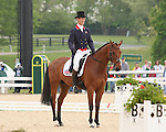 23 April 2010. Cool Mountain and William Fox-Pitt finish the Dressage test with a score of 42.8, moving them into first place on the leaderboard.