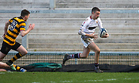 Tuesday 3rd March 2020 | RSA vs RBAI<br /> <br /> Armagh fullback Ethan McAtarsney races clear to score the final Armagh try during the Ulster Schools' Cup Semi-Final between Royal School Armagh and RBAI at Kingspan Stadium, Ravenhill Park, Belfast, Northern Ireland. Photo by John Dickson / DICKSONDIGITAL