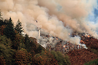 A distant helicopter is seen amidst the smoke as it lights a controlled forest fire as part of a reforesting technique following clear-cut logging. Oregon.