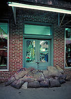 Sand bags at door of store in Alabama in preparation for flood. Northport Alabama United States.