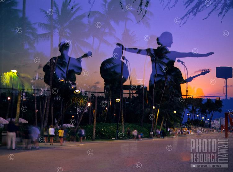 Hula dancer at dusk, Superimposed image