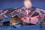 Valentines torchlight parade and fireworks from the Steamboat barn.