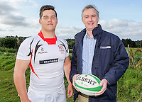 Ulster Schools U18 | Saturday 5th September 2015<br /> <br /> Ulster Schools U18 Squad 2015-2016<br /> Belfast High School player Tyler Arnold with Danske Bank representative Mark Beattie at a recent training session at Newforge Country Club in Belfast. Photo : John Dickson - DICKSONDIGITAL