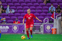 ORLANDO, FL - FEBRUARY 24: Adriana Leon #19 of the CANWNT dribbles the ball during a game between Brazil and Canada at Exploria Stadium on February 24, 2021 in Orlando, Florida.