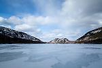 Winter at Jordan Pond in Acadia National Park, Maine, USA