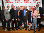 """Scott Elliott, Sharr White, Austin Caldwell, John Pankow, Edie Falco, Michael McKean, Tracy Shayne, Peter Scolari and Glenn Fitzgerald attends the New Group World Premiere of """"The True"""" on September 20, 2018 at The Green Fig Urban Eatery in New York City."""