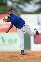 Pulaski Blue Jays starting pitcher Francisco Mateo follows through on his delivery versus the Burlington Indians at Burlington Athletic Park in Burlington, NC, Saturday, July 29, 2006.  The Indians defeated the Blue Jays by the score of 8-4.