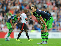 Gylfi Sigurosson of Swansea City rues a missed chance on goal during the Barclays Premier League match between Sunderland and Swansea City played at Stadium of Light, Sunderland