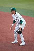 Charlotte 49ers first baseman David McCabe (24) on defense against the Old Dominion Monarchs at Hayes Stadium on April 23, 2021 in Charlotte, North Carolina. (Brian Westerholt/Four Seam Images)