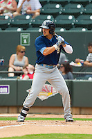 Jake Skole (9) of the Myrtle Beach Pelicans at bat against the Winston-Salem Dash at BB&T Ballpark on July 7, 2013 in Winston-Salem, North Carolina.  The Pelicans defeated the Dash 4-2 in game one of a double-header.  (Brian Westerholt/Four Seam Images)
