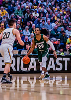 12 March 2019: Binghamton University Bearcat Guard Everson Davis, a Senior from St. Kitts, in action during the America East Semifinal Men's Basketball playoff game against the University of Vermont Catamounts at Patrick Gymnasium in Burlington, Vermont. The top-seeded Catamounts defeated the Bearcats 84-51, ending Binghamton's 2018-2019 season. Mandatory Credit: Ed Wolfstein Photo *** RAW (NEF) Image File Available ***