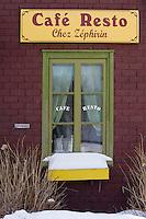 Amérique/Amérique du Nord/Canada/Québec/  Deschambault:  Détail façade d'un restaurant - Chemin du Roy