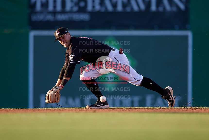 Batavia Muckdogs second baseman Andrew Turner (9) attempts a diving stop during a NY-Penn League game against the State College Spikes on July 1, 2019 at Dwyer Stadium in Batavia, New York.  Batavia defeated State College 5-4.  (Mike Janes/Four Seam Images)