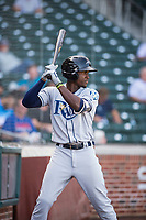 Peoria Javelinas shortstop Lucius Fox (5), of the Tampa Bay Rays organization, on deck during an Arizona Fall League game against the Mesa Solar Sox at Sloan Park on October 24, 2018 in Mesa, Arizona. Mesa defeated Peoria 4-3. (Zachary Lucy/Four Seam Images)