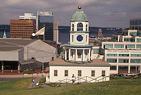 clock, Halifax, Nova Scotia, NS, Canada, Historic Town Clock ca. 1803 and downtown skyline of Halifax in Nova Scotia.