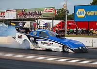 Aug 18, 2018; Brainerd, MN, USA; NHRA funny car driver Gary Densham during qualifying for the Lucas Oil Nationals at Brainerd International Raceway. Mandatory Credit: Mark J. Rebilas-USA TODAY Sports