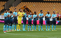 Pictured: Saturday 30 July 2016<br /> Re: Wolverhampton Wanderers v Swansea City FC, pre-season friendly at the Molineux Stadium, England, UK<br /> The Swansea team join in the celebration for Sir Jack Haywood