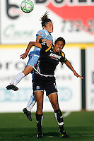 Julianne Sitch (38) of Sky Blue FC goes over Shannon Boxx (7) of the Los Angeles Sol for a header. The Los Angeles Sol defeated Sky Blue FC 2-0 during a Women's Professional Soccer match at TD Bank Ballpark in Bridgewater, NJ, on April 5, 2009. Photo by Howard C. Smith/isiphotos.com