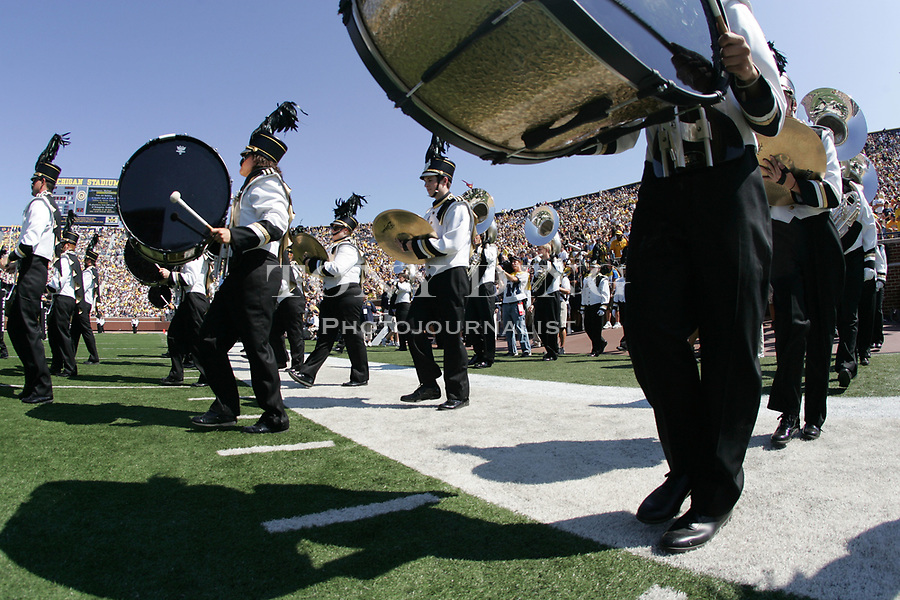 1 September 2007: The Mountaineers Marching Band take the field at the beginning of the 2007 college football season opener game between the Michigan Wolverines and Appalachian State Mountaineers at Michigan Stadium in Ann Arbor, MI. No. 5 ranked Michigan was upset 32-34.