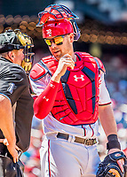 9 July 2017: Washington Nationals catcher Matt Wieters has a word with umpire Bruce Dreckman during a game against the Atlanta Braves at Nationals Park in Washington, DC. The Nationals defeated the Atlanta Braves to split their 4-game series going into the All-Star break. Mandatory Credit: Ed Wolfstein Photo *** RAW (NEF) Image File Available ***