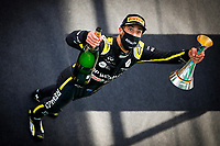 11th October 2020, Nuerburgring, Nuerburg, Germany; FIA Formula 1 Eifel Grand Prix, Race Day;  3 Daniel Ricciardo AUS, Renault DP World F1 Team celebrates his 3rd place finish