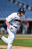 Louisville Cardinals outfielder Ryan Summers (33) runs to first during a game against the Cal State Fullerton Titans on February 15, 2015 at Bright House Field in Clearwater, Florida.  Cal State Fullerton defeated Louisville 8-6.  (Mike Janes/Four Seam Images)