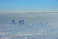 Winter inversion Denver Colorado skyline. Jan 2014