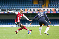 Jake Caprice of Exeter City cuts back under pressure from Brandon Goodship, Southend United during Southend United vs Exeter City, Sky Bet EFL League 2 Football at Roots Hall on 10th October 2020