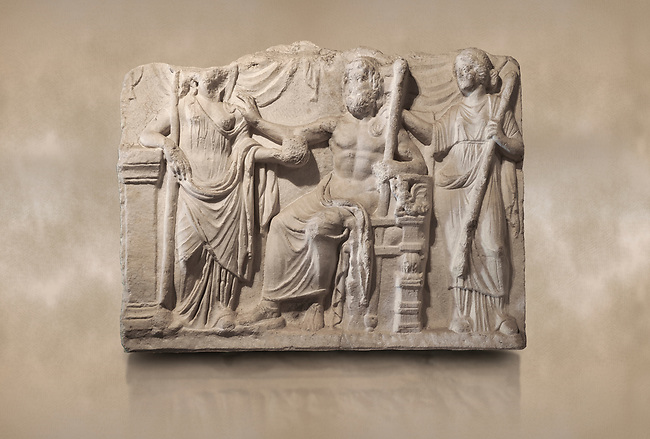 Roman relief sculpture of the Marriage of Zeus and Leto Hieros Gamos. Roman 2nd century AD, Hierapolis Theatre.. Hierapolis Archaeology Museum, Turkey. Against an art background