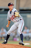 Danville Braves pitcher Ryan Gunther #22 delivers a pitch during a game against the Johnson City Cardinals at Howard Johnson Field on June 23, 2013 in Johnson City, Tennessee. The Cardinals won the game 5-4. (Tony Farlow/Four Seam Images)