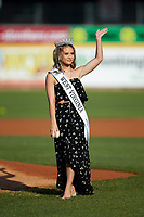 Teen West Virginia United States 2018 Jacqueline Shaffer waves to the crowd before throwing a ceremonial first pitch prior to the South Atlantic League game between the Lexington Legends and the West Virginia Power at Appalachian Power Park on June 7, 2018 in Charleston, West Virginia. The Power defeated the Legends 5-1. (Brian Westerholt/Four Seam Images)