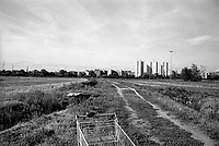 Milano, Vaiano Valle, Parco Agricolo Sud. un carrello della spesa abbandonato --- Milan, Vaiano Valle, Rural Park South. an abandoned shopping cart
