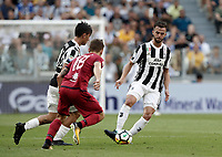 Calcio, Serie A: Torino, Allianz Stadium, 19 agosto 2017. <br /> Juventus' Miralem Pjanic (r) in action with Juventus' Paulo Dybala (l) and Cagliari's Nicolò Barella (c) during the Italian Serie A football match between Juventus and Cagliari at Torino's Allianz Stadium, August 19, 2017.<br /> UPDATE IMAGES PRESS/Isabella Bonotto