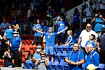 St Johnstone v Fleetwood Town…24.07.21  McDiarmid Park<br />Fans celebarte as the players parade the two trophies around the park<br />Picture by Graeme Hart.<br />Copyright Perthshire Picture Agency<br />Tel: 01738 623350  Mobile: 07990 594431