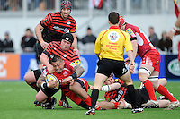 20130303 Copyright onEdition 2013©.Free for editorial use image, please credit: onEdition..Alfie To'oala of London Welsh is tackled by Matt Stevens of Saracens during the Premiership Rugby match between Saracens and London Welsh at Allianz Park on Sunday 3rd March 2013 (Photo by Rob Munro)..For press contacts contact: Sam Feasey at brandRapport on M: +44 (0)7717 757114 E: SFeasey@brand-rapport.com..If you require a higher resolution image or you have any other onEdition photographic enquiries, please contact onEdition on 0845 900 2 900 or email info@onEdition.com.This image is copyright onEdition 2013©..This image has been supplied by onEdition and must be credited onEdition. The author is asserting his full Moral rights in relation to the publication of this image. Rights for onward transmission of any image or file is not granted or implied. Changing or deleting Copyright information is illegal as specified in the Copyright, Design and Patents Act 1988. If you are in any way unsure of your right to publish this image please contact onEdition on 0845 900 2 900 or email info@onEdition.com