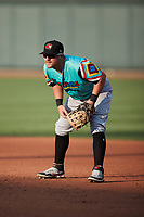 Llamas de Hickory first baseman Blaine Crim (9) on defense against the Winston-Salem Rayados at Truist Stadium on July 6, 2021 in Winston-Salem, North Carolina. (Brian Westerholt/Four Seam Images)