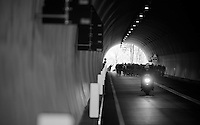 Halfway in the race the Passo del Turchino tunnel is the highest point of the race (532m) and from here the riders descend towards the Mediterranean. <br /> <br /> 2014 Milano - San Remo