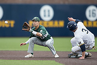 Michigan State Spartans shortstop Royce Ando (13) waits for a throw as Michigan Wolverines baserunner Miles Lewis (3) slides into second base on May 19, 2017 at Ray Fisher Stadium in Ann Arbor, Michigan. Michigan defeated Michigan State 11-6. (Andrew Woolley/Four Seam Images)