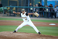 Chris Mathewson (27) of the Cal State Long Beach Dirtbags pitches against the UC Santa Barbara Gauchos at Blair Field on April 1, 2016 in Long Beach, California. UC Santa Barbara defeated Cal State Long Beach, 4-3. (Larry Goren/Four Seam Images)