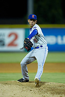 Kingsport Mets relief pitcher Nelson Leon (16) in action against the Burlington Royals at Burlington Athletic Stadium on July 27, 2018 in Burlington, North Carolina. The Mets defeated the Royals 8-0.  (Brian Westerholt/Four Seam Images)