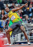 August 05, 2012: Usain Bolts reacts after winning men's 100m dash by setting a new Olympic record at the Olympic Stadium on day nine of 2012 Olympic Games in London, United Kingdom.