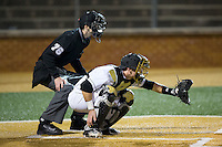 Wake Forest Demon Deacons catcher Ben Breazeale (9) sets a target as home plate umpire Thomas Newsom looks on during the game against the Georgetown Hoyas at David F. Couch Ballpark on February 19, 2016 in Winston-Salem, North Carolina.  The Demon Deacons defeated the Hoyas 3-1.  (Brian Westerholt/Four Seam Images)