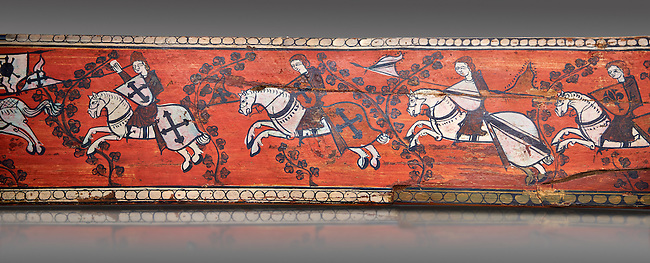 Gothic decorative painted beam panels with gknights on horses, Tempera on wood. National Museum of Catalan Art (MNAC), Barcelona, Spain
