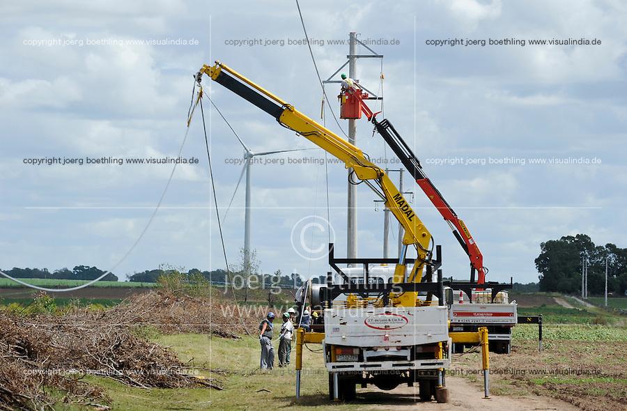URUGUAY Ciudad de Plata , Anschluss des UTE Windparks Kentilux mit 5 Vestas Windraeder a 2 MW an das Stromnetz der UTE Usinas y Trasmisiones Eléctrica dem staatlichen Energieversorger | .URUGUAY windfarm with Vestas Windturbine and grid connection of UTE the public energy company