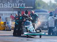 Sep 5, 2020; Clermont, Indiana, United States; NHRA top alcohol dragster driver Corey Michalek during qualifying for the US Nationals at Lucas Oil Raceway. Mandatory Credit: Mark J. Rebilas-USA TODAY Sports
